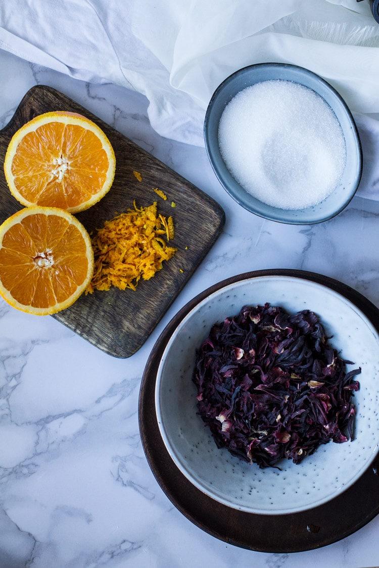 Ingredients to make hibiscus tea.