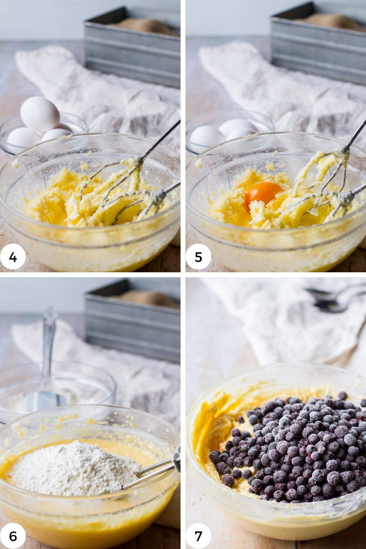How to make homemade blueberry muffins batter, step by step.