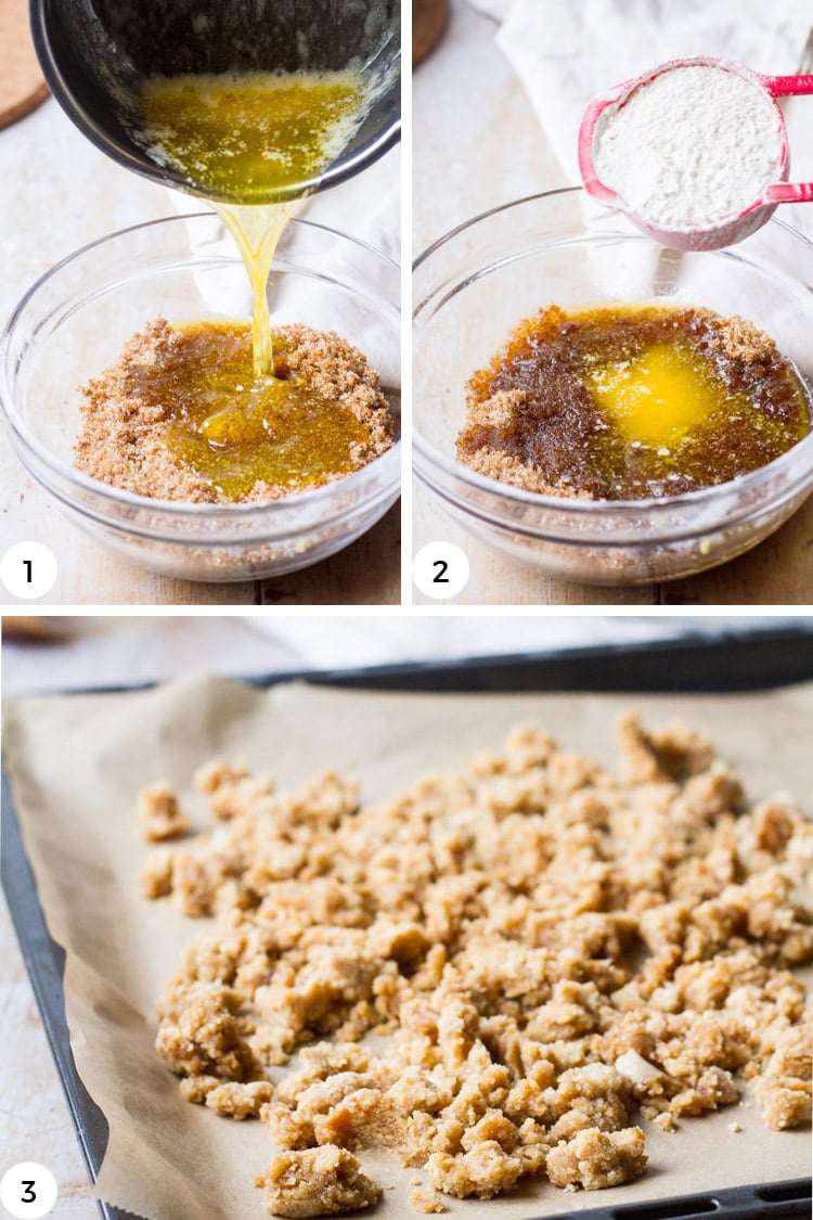 Step by step for how to make crumble topping.