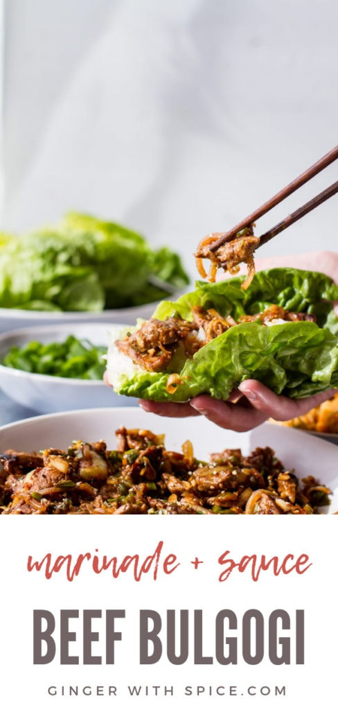 Beef bulgogi lettuce wrap adding a piece of bulgogi to it. Pinterest pin.