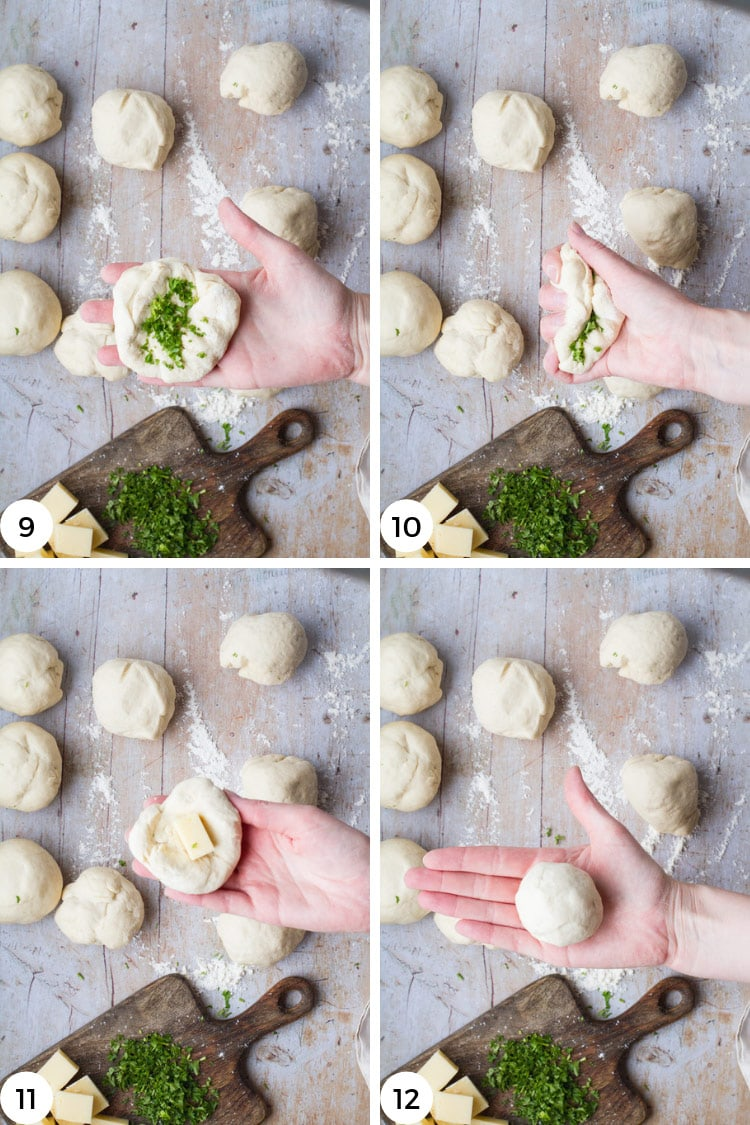 How to add cheesy center to buns, step by step photos.