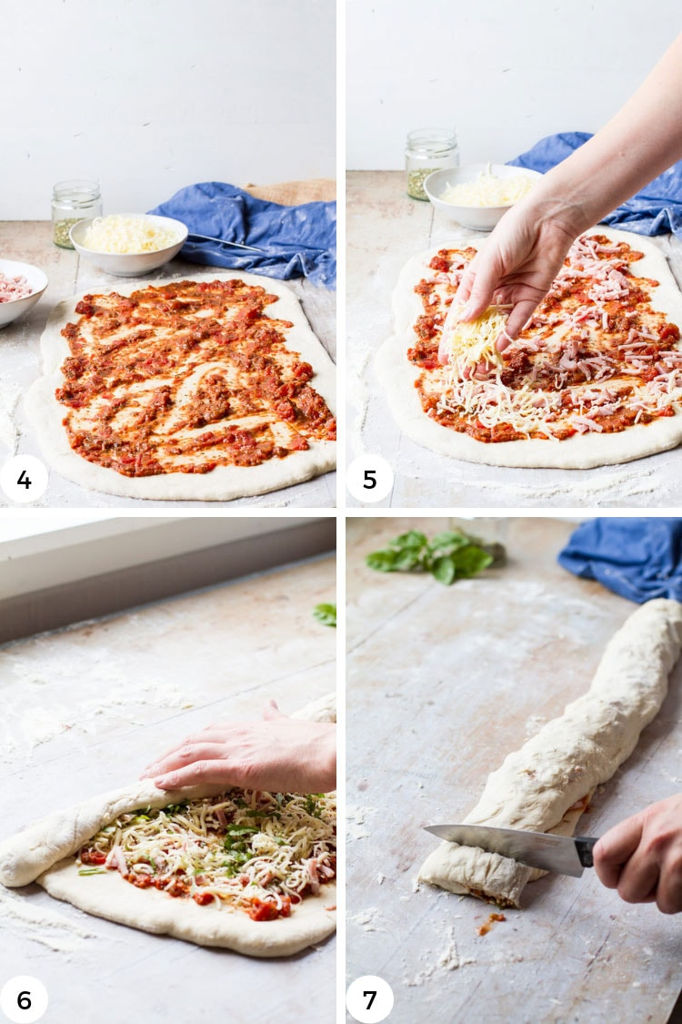 How to make homemade pizza rolls, step by step.