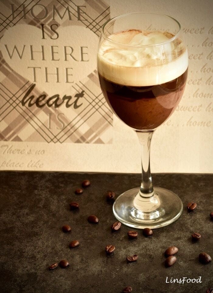 Hot Drink with coffee in a wine glass.