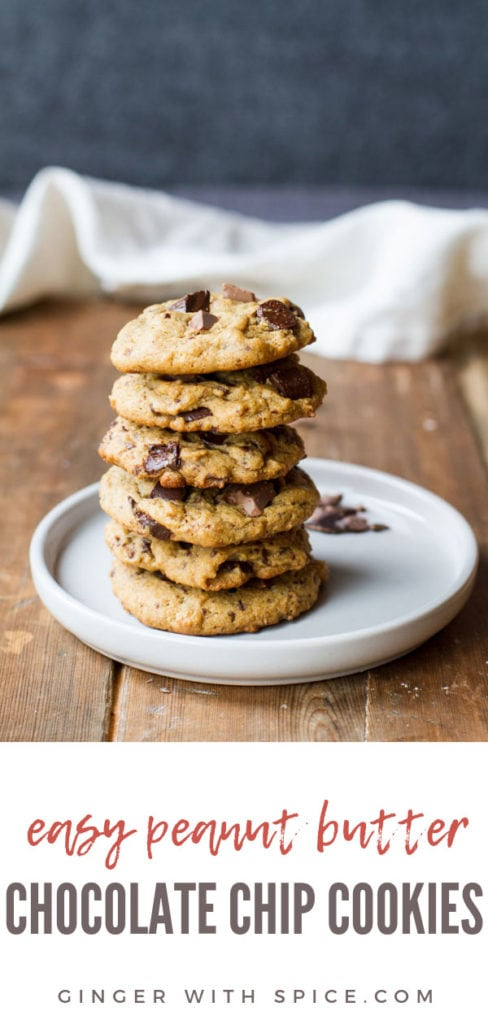 Stack of peanut butter chocolate chip cookies on a white plate. Wooden background. Pinterest pin.