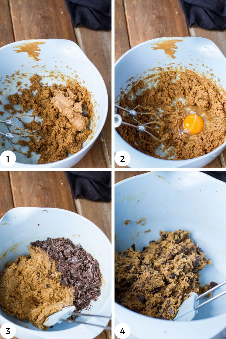Step by step to make peanut butter chocolate chip cookies dough.
