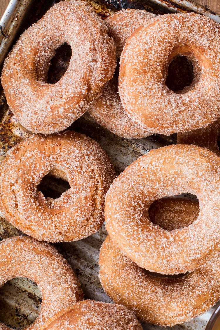 Apple cider donuts, flatlay and close-up.