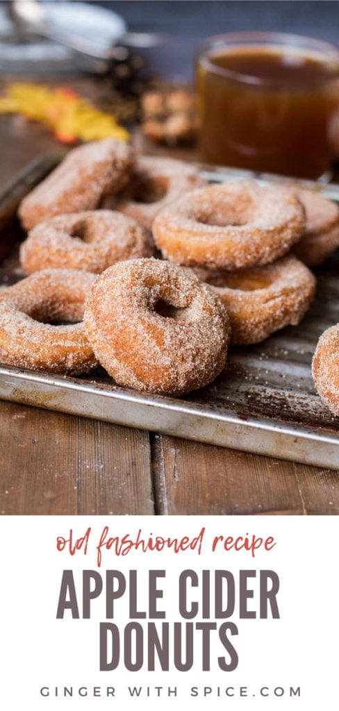 Apple cider donuts on a metal pan. Pinterest pin.