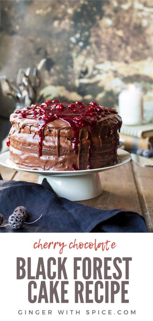 Cherry chocolate cake with chocolate buttercream and topped with a cherry filling. Pinterest pin.