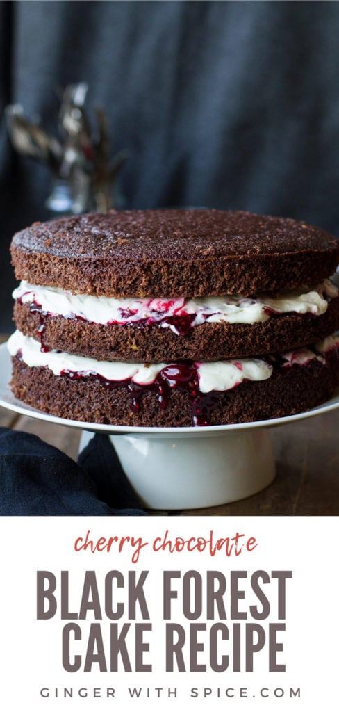 Cherry chocolate cake with two layers of whipped cream and cherry filling. Pinterest pin.