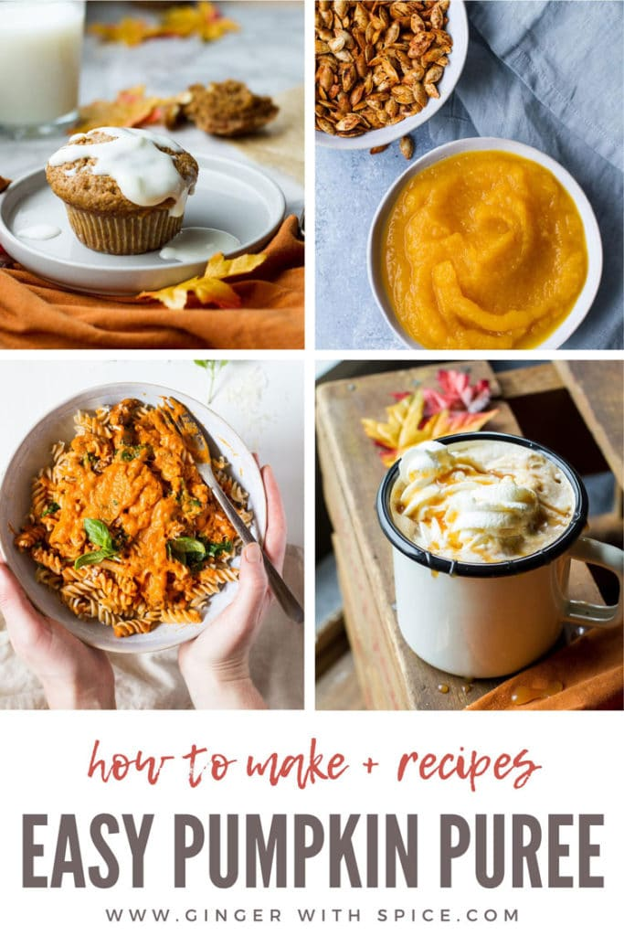 4 images, 3 using pumpkin puree and one with pumpkin puree only. Pinterest pin with text.