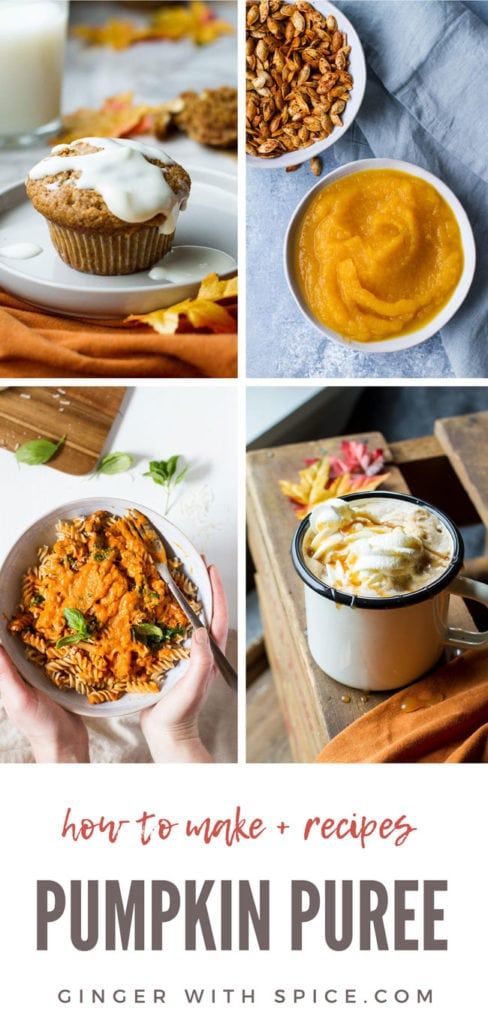 4 images, 3 using pumpkin puree and one with pumpkin puree only. Long Pinterest pin with text.