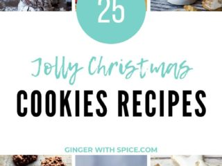 Pinterest pin with text overlay in turquoise and 6 images of cookies.