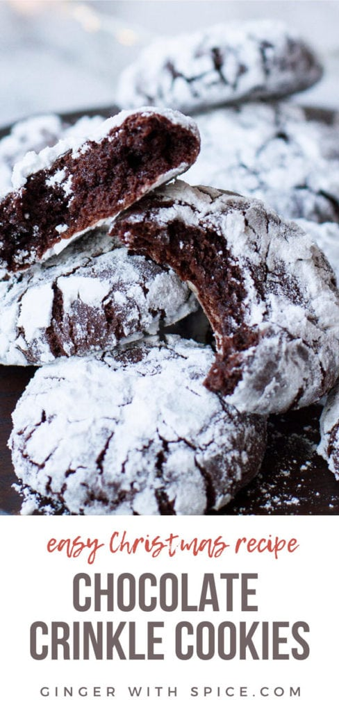 Chocolate crinkle cookies, taken a bite out of, close up. Pinterest pin 2.
