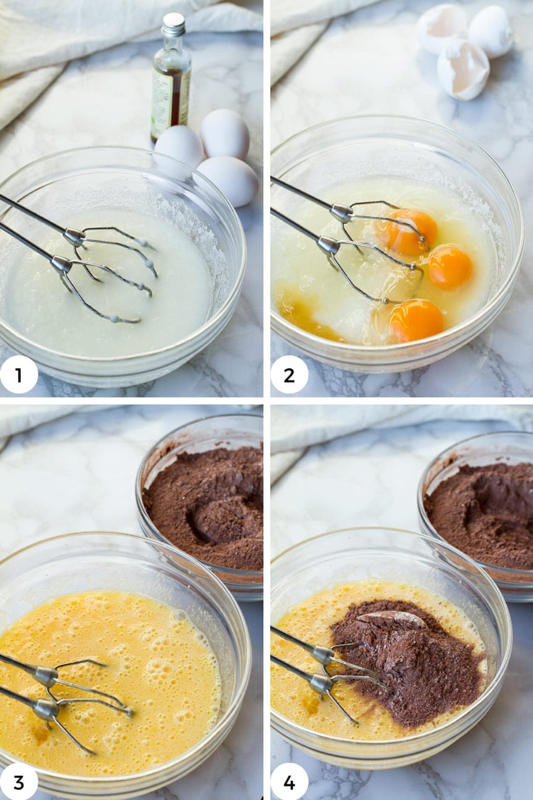 Steps to make chocolate crinkle cookie dough.
