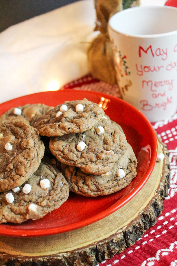 Chocolate chip cookies with small marshmallows on a red plate.