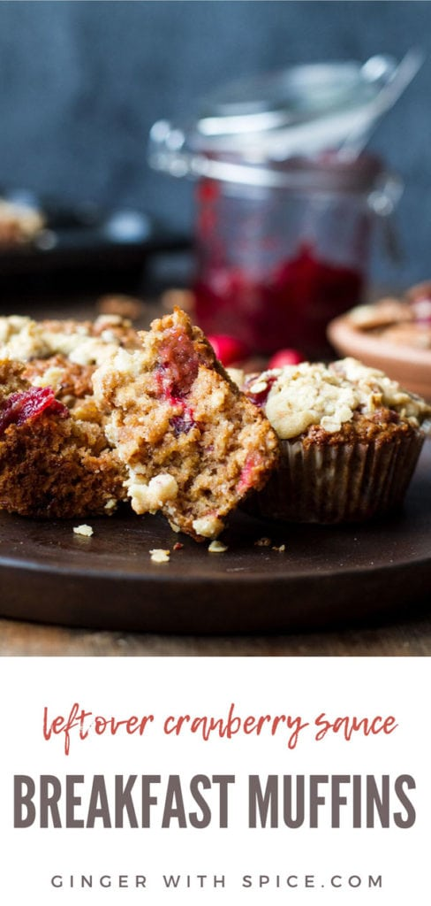 One cranberry sauce breakfast muffins open in half. Pinterest pin.