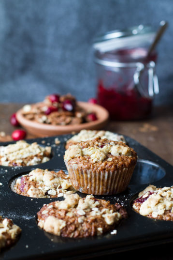 Leftover Cranberry Sauce Oat Breakfast Muffins