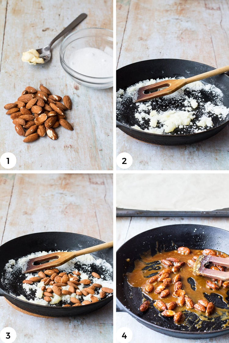 Steps to caramelize almonds.