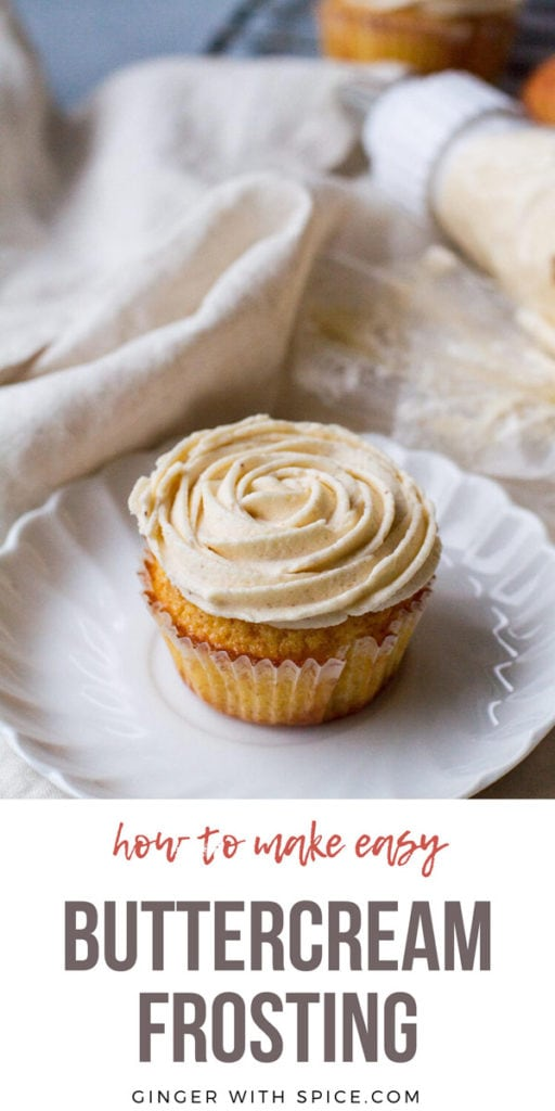A cupcake on a white plate, with buttercream frosting shaped like a rose. Pinterest pin with text.