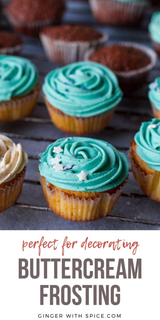 Cupcakes with turquoise buttercream frosting and sprinkles. Pinterest pin.