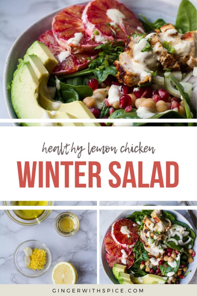 Pinterest pin with text overlay: healthy lemon chicken winter salad, 3 images from post.