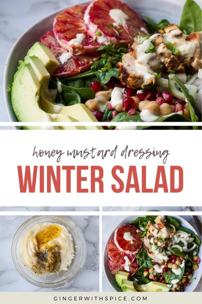Pinterest pin with text: honey mustard dressing winter salad, 3 images from post.
