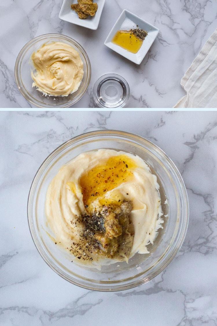 Whisking together honey mustard dressing ingredients.