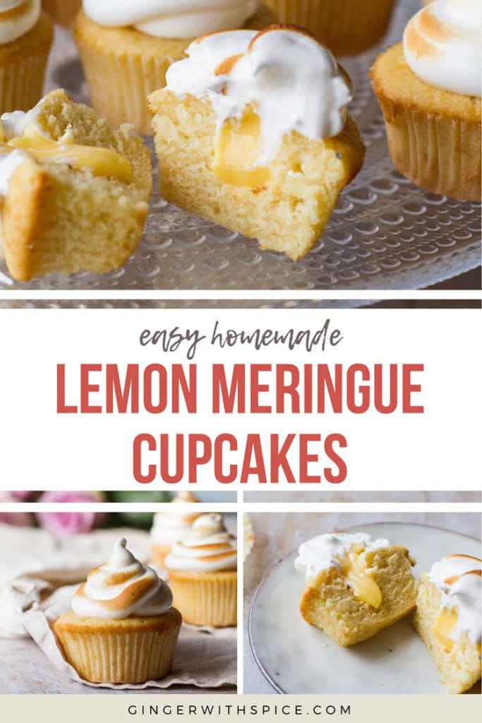 Pinterest pin with text overlay Easy Homemade Lemon Meringue Cupcakes, three photos from post.