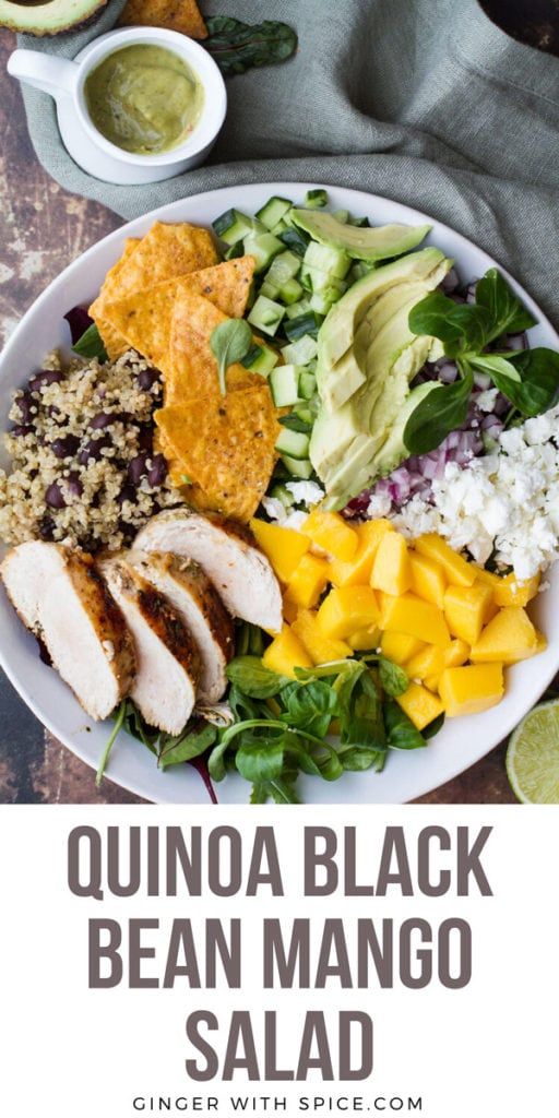 A white bowl with mango, feta cheese, avocado slices, rice and beans and chicken. Pinterest pin.