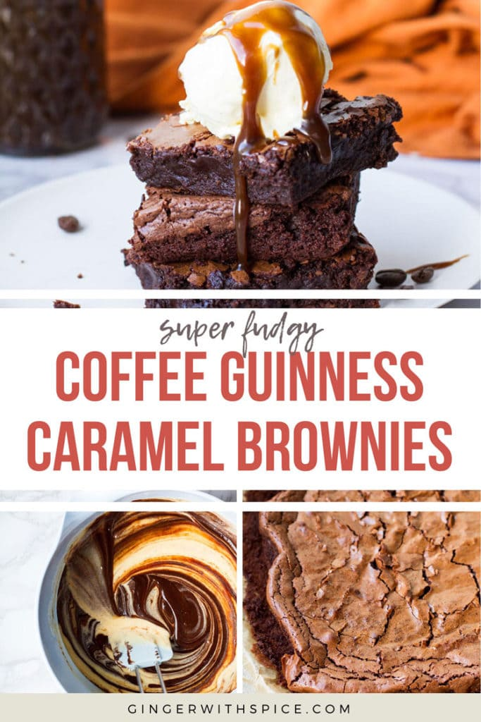 Pinterest pin for Coffee Guinness Caramel Brownies with three images and text overlay.
