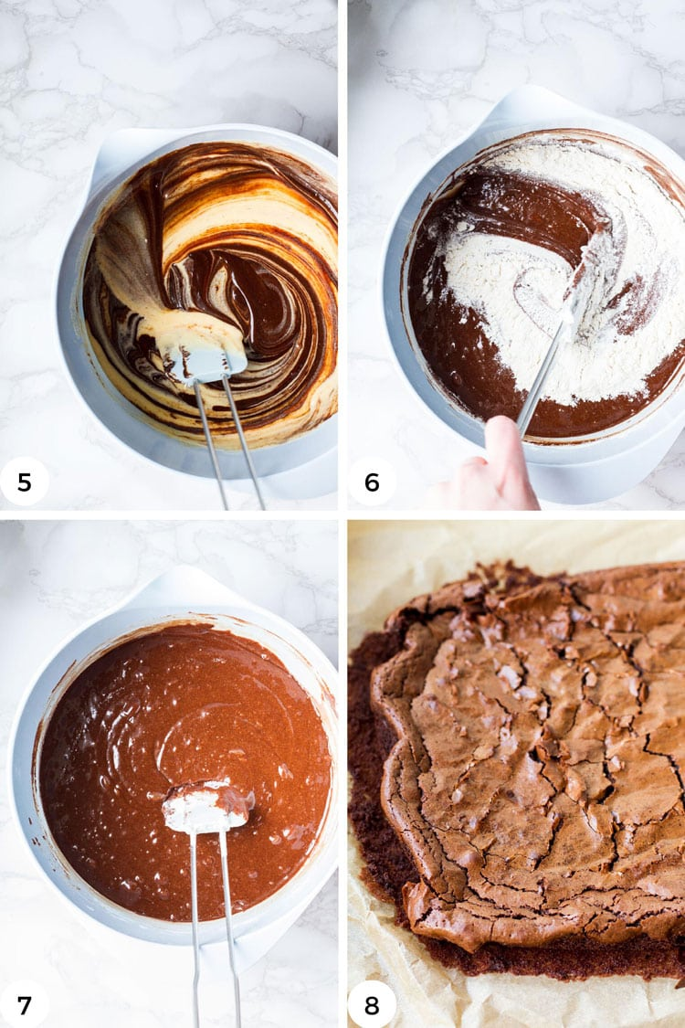 Steps on how to mix and fold the brownie batter.