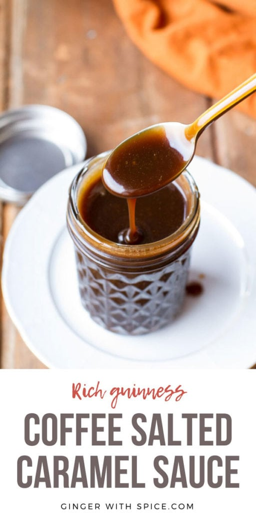 Spoon drizzling Guinness coffee salted caramel sauce into a glass jar. Pinterest pin.