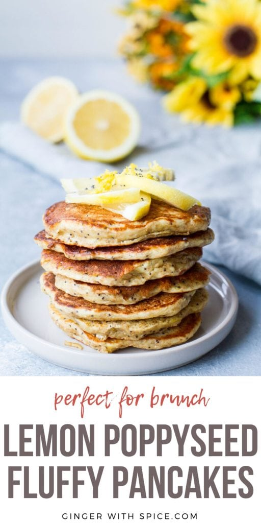 Stack of pancakes topped with lemon slices. Blue background. Pinterest pin.