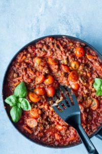 Extra Veggie Tomato Bolognese Recipe (Meat Sauce)