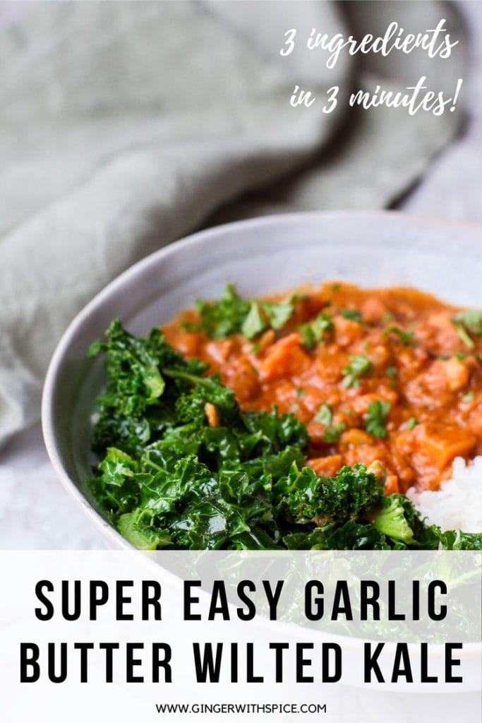 A blue bowl with kale and peanut stew, text overlay at the bottom: Super Easy Garlic Butter Wilted Kale. Pinterest pin.