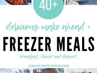Pinterest pin with six images from post and text overlay: delicious make ahead + freezer meals.