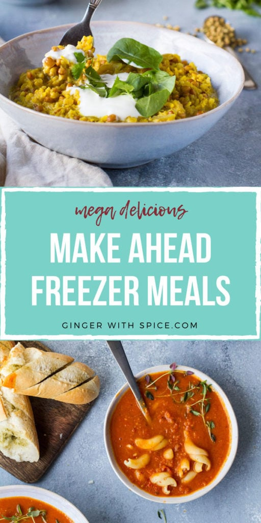Two recipes from the post with text overlay: mega delicious Make Ahead Freezer Meals. Pinterest pin.