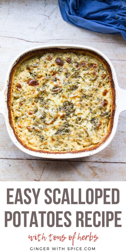 White casserole with scalloped potatoes and a cheesy top. Pinterest pin with text.