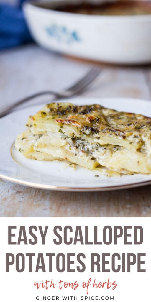 Close-up of the layers inside a scalloped potatoes dish. Pinterest pin.