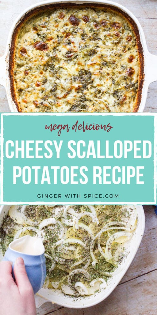 Two images from post and text overlay: cheesy scalloped potatoes recipe. Turquoise background. Pinterest pin.