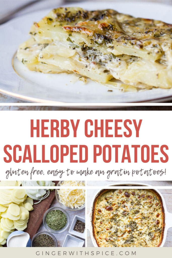 Three images from post and red overlay text: herby cheesy scalloped potatoes recipe. Pinterest pin.