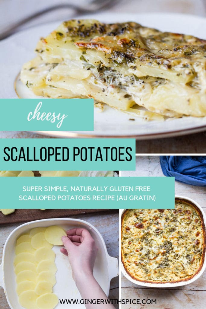 Three images from post and text overlay: cheesy scalloped potatoes recipe. Pinterest pin.