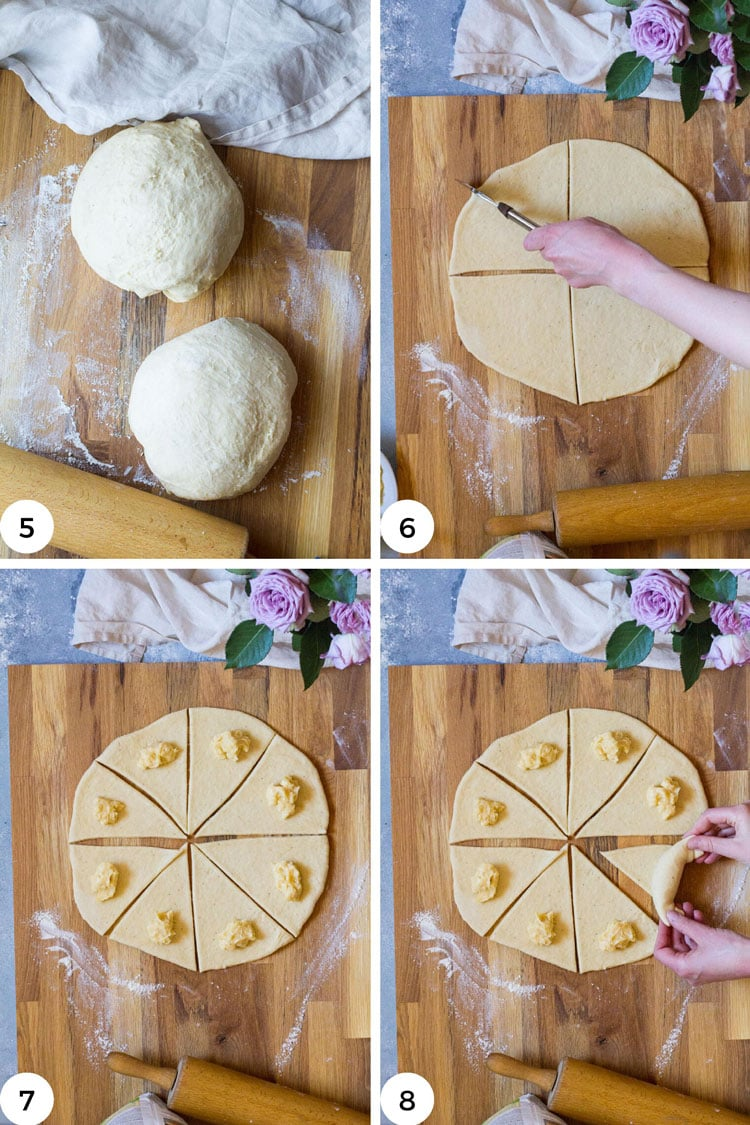 Steps on how to cut and shape crescent rolls.