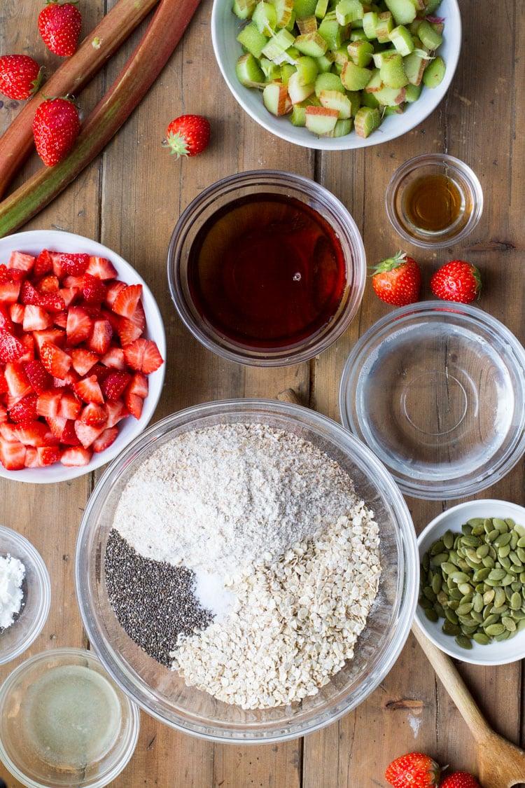 Ingredients to make strawberry rhubarb oatmeal bars.