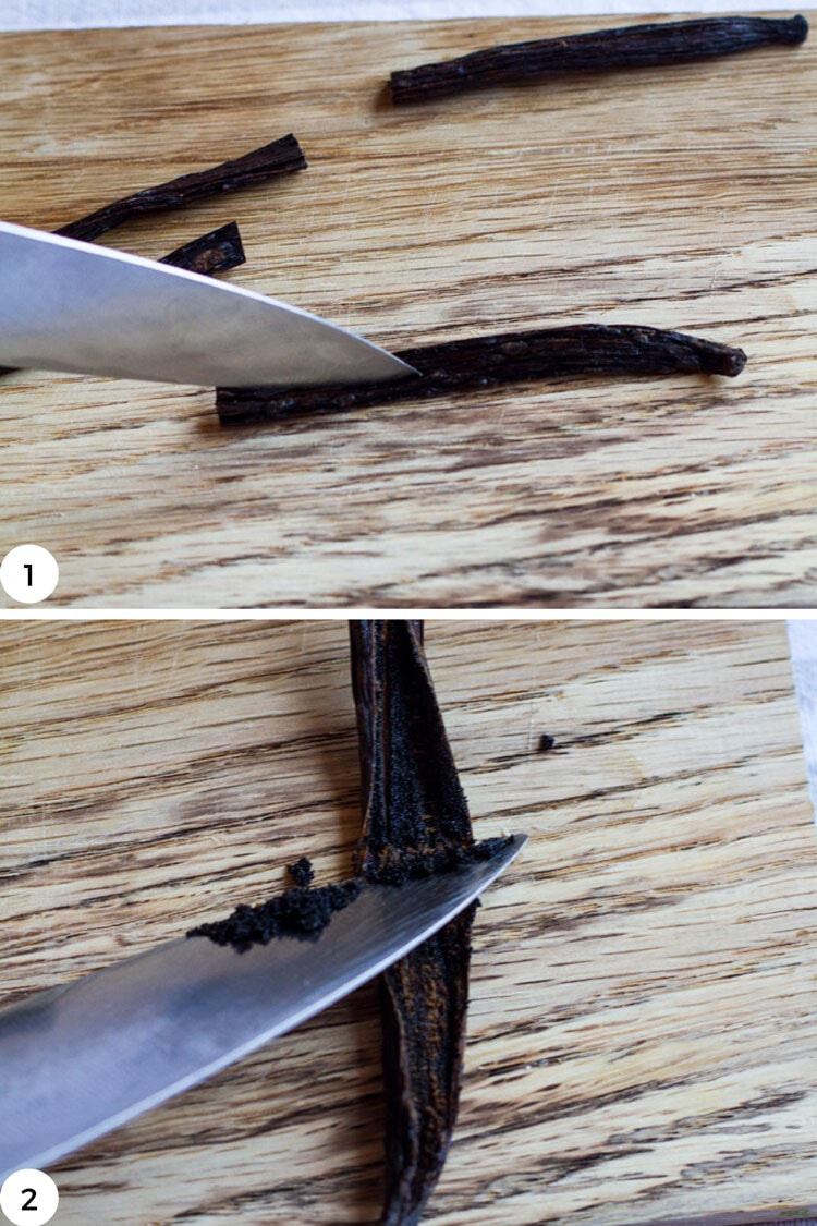 Steps to open up a vanilla bean.