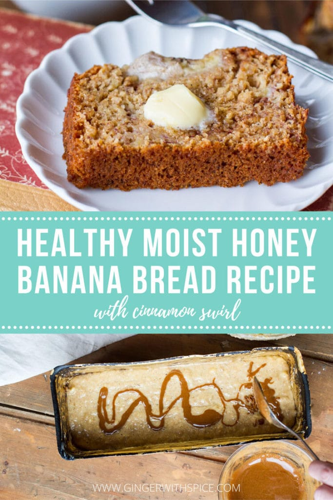 Pinterest pin with text overlay on turquoise background: Healthy Moist Honey Banana Bread Recipe. Two images.