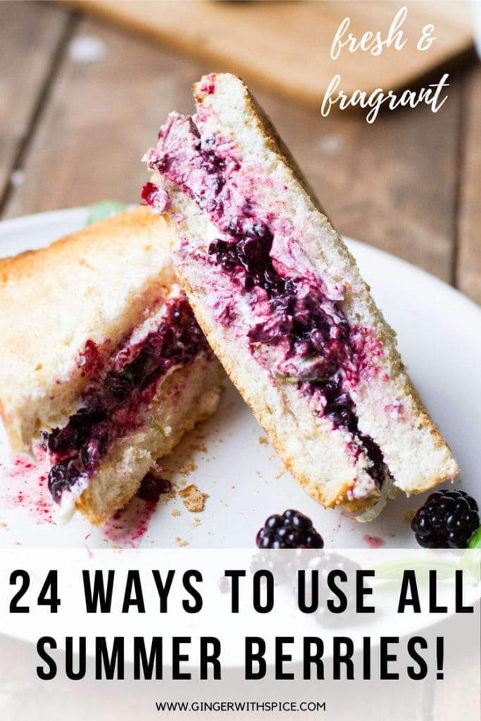 Blackberry grilled cheese and text overlay. Pinterest pin.