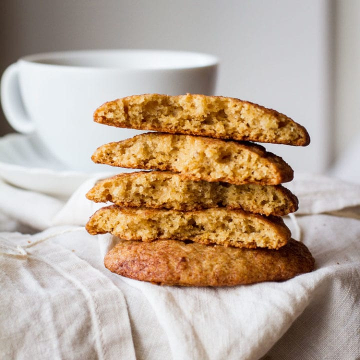 A stack of cut opened banana snickerdoodle cookies.