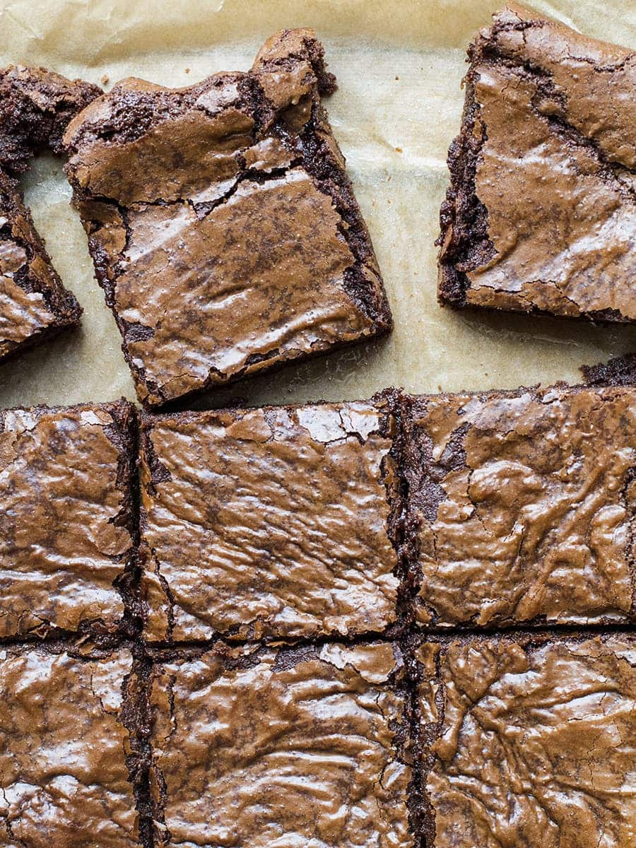 Close-up of 9 squares of fudgy chocolate brownies. Flat lay.