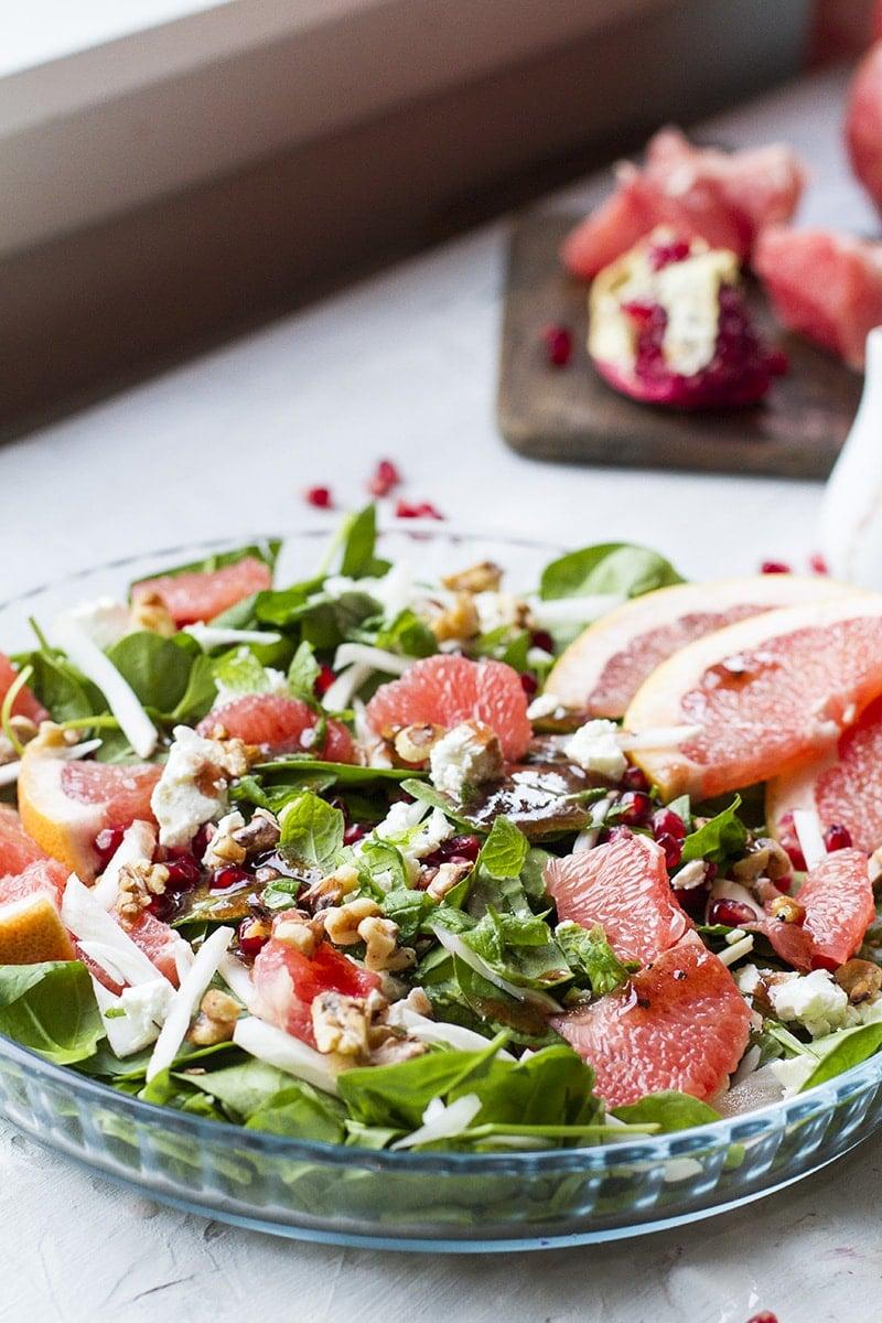Grapefruit salad with fennel and pomegranate vinaigrette.